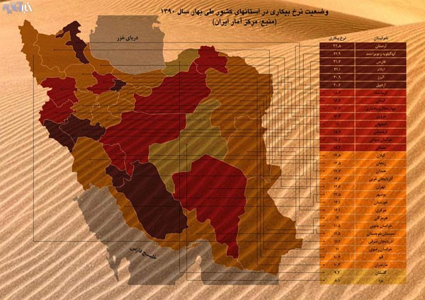Iran-unemployment-rate-map