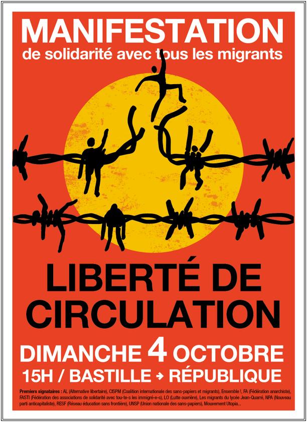 paris dimanche 4 octobre manifestation de solidarit avec tous les migrants libert de. Black Bedroom Furniture Sets. Home Design Ideas